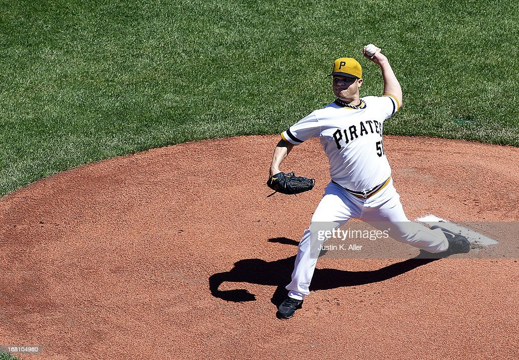 <a gi-track='captionPersonalityLinkClicked' href=/galleries/search?phrase=Wandy+Rodriguez&family=editorial&specificpeople=247781 ng-click='$event.stopPropagation()'>Wandy Rodriguez</a> #51 of the Pittsburgh Pirates pitches in the first inning against the Washington Nationals during the game on May 5, 2013 at PNC Park in Pittsburgh, Pennsylvania.