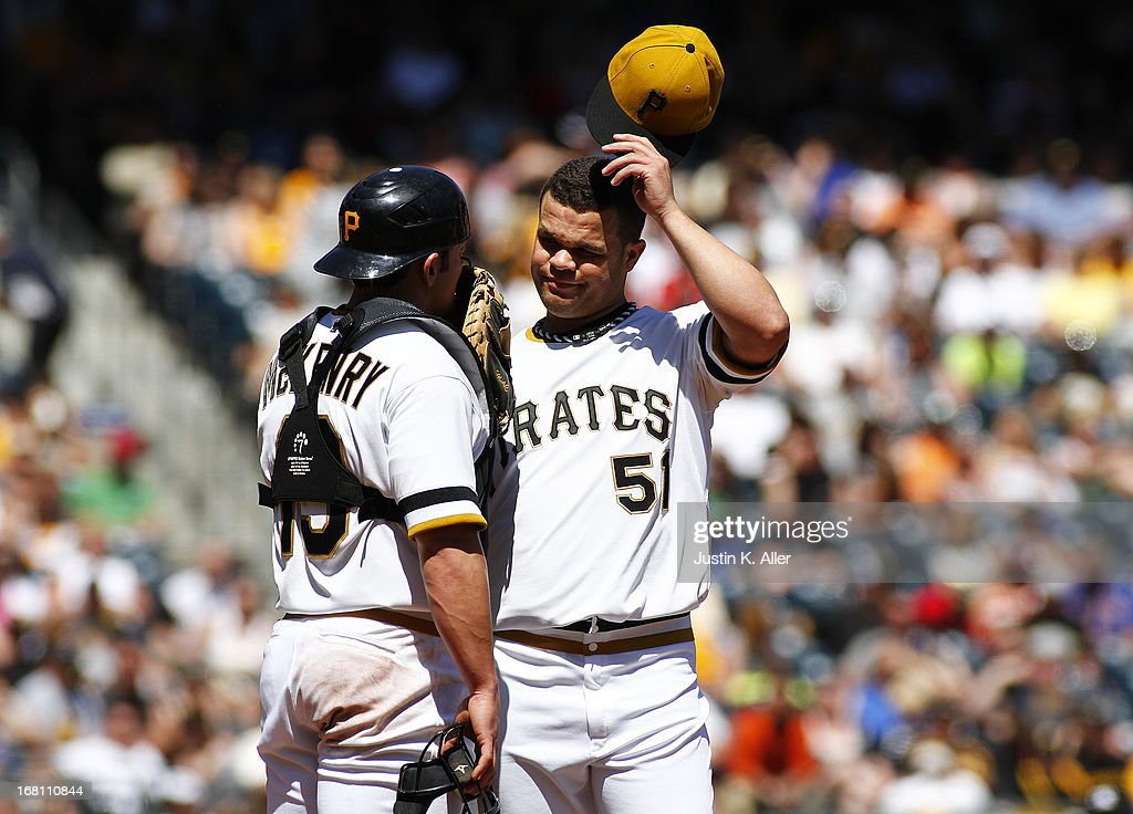 <a gi-track='captionPersonalityLinkClicked' href=/galleries/search?phrase=Wandy+Rodriguez&family=editorial&specificpeople=247781 ng-click='$event.stopPropagation()'>Wandy Rodriguez</a> #51 of the Pittsburgh Pirates reacts after a balk in the fourth inning against the Washington Nationals during the game on May 5, 2013 at PNC Park in Pittsburgh, Pennsylvania.
