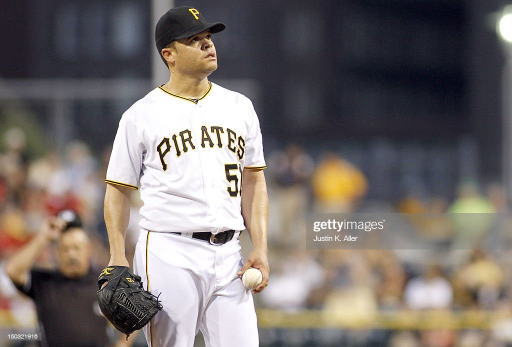 <a gi-track='captionPersonalityLinkClicked' href=/galleries/search?phrase=Wandy+Rodriguez&family=editorial&specificpeople=247781 ng-click='$event.stopPropagation()'>Wandy Rodriguez</a> #51 of the Pittsburgh Pirates reacts in the fourth inning, giving up four hits against the Los Angeles Dodgers during the game on August 15, 2012 at PNC Park in Pittsburgh, Pennsylvania.