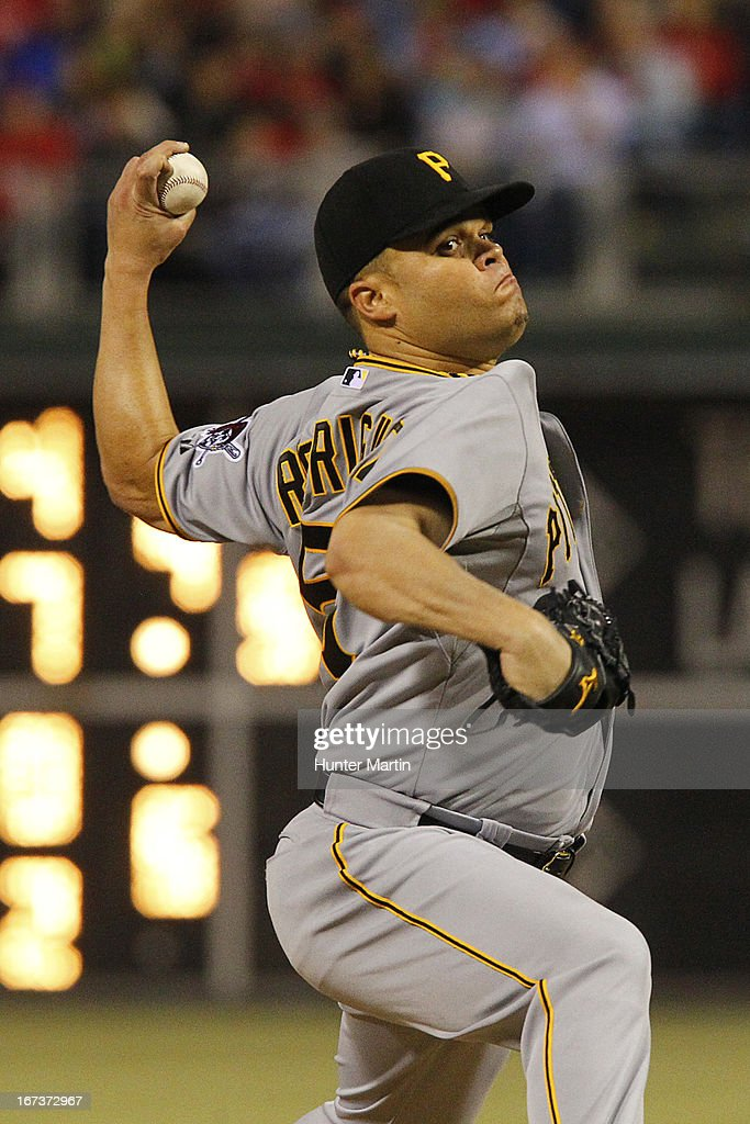 <a gi-track='captionPersonalityLinkClicked' href=/galleries/search?phrase=Wandy+Rodriguez&family=editorial&specificpeople=247781 ng-click='$event.stopPropagation()'>Wandy Rodriguez</a> #51 of the Pittsburgh Pirates throws a pitch during a game against the Philadelphia Phillies at Citizens Bank Park on April 24, 2013 in Philadelphia, Pennsylvania. The Pirates won 5-3.