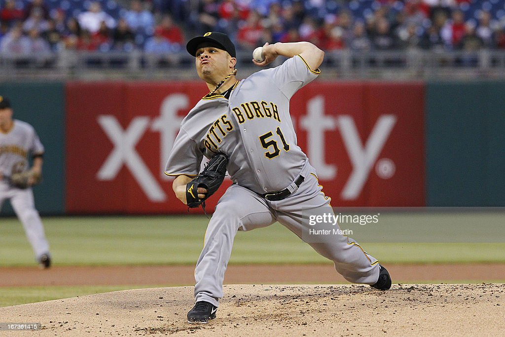 <a gi-track='captionPersonalityLinkClicked' href=/galleries/search?phrase=Wandy+Rodriguez&family=editorial&specificpeople=247781 ng-click='$event.stopPropagation()'>Wandy Rodriguez</a> #51 of the Pittsburgh Pirates throws a pitch in the first inning during a game against the Philadelphia Phillies at Citizens Bank Park on April 24, 2013 in Philadelphia, Pennsylvania.
