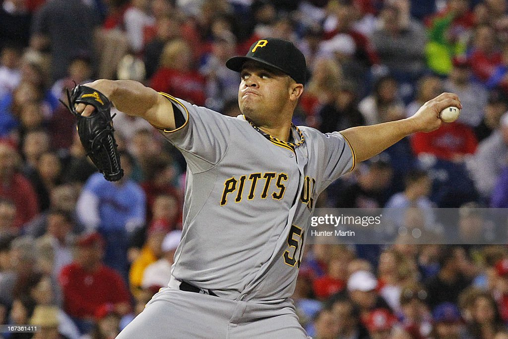 <a gi-track='captionPersonalityLinkClicked' href=/galleries/search?phrase=Wandy+Rodriguez&family=editorial&specificpeople=247781 ng-click='$event.stopPropagation()'>Wandy Rodriguez</a> #51 of the Pittsburgh Pirates throws a pitch in the third inning during a game against the Philadelphia Phillies at Citizens Bank Park on April 24, 2013 in Philadelphia, Pennsylvania.