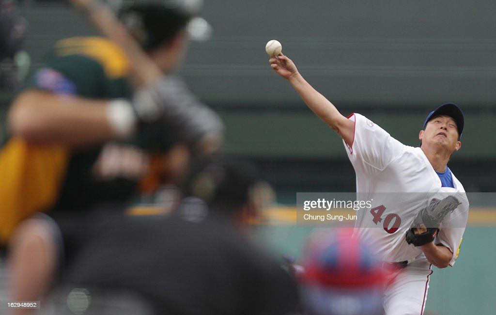Wang Chien-Ming of Chinese Taipei pitches in the first inning during the World Baseball Classic First Round Group B match between Australia and Chinese Taipei at Intercontinental Baseball Stadium on March 2, 2013 in Taichung, Taiwan.