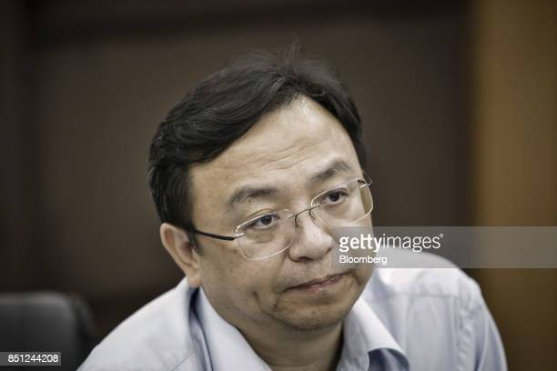 Wang Chuanfu chairman of BYD Co attends a news conference at the company's headquarters in Shenzhen China on Thursday Sept 21 2017 China will likely...