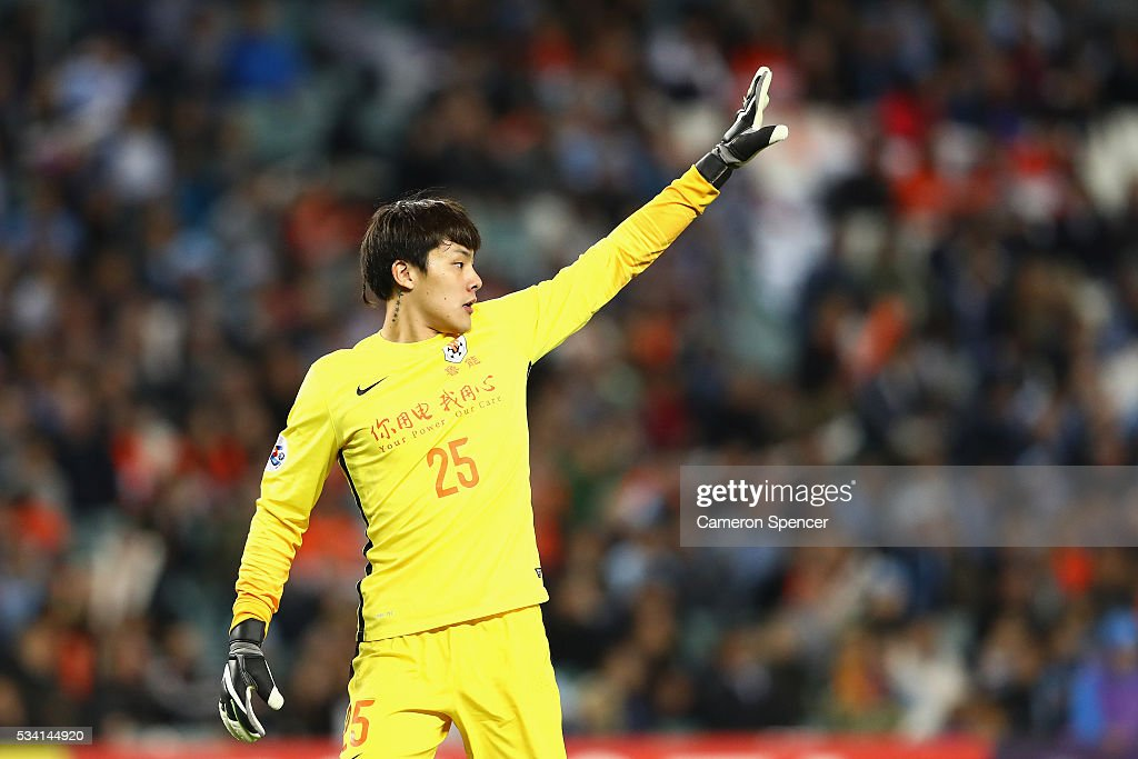 <a gi-track='captionPersonalityLinkClicked' href=/galleries/search?phrase=Wang+Dalei&family=editorial&specificpeople=3971896 ng-click='$event.stopPropagation()'>Wang Dalei</a> of Shandong Luneng signals to team mates during the AFC Asian Champions League match between Sydney FC and Shandong Luneng at Allianz Stadium on May 25, 2016 in Sydney, Australia.