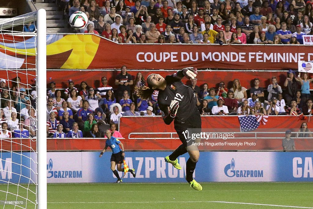 Wang Fei of China leaps to make a save in the second half against the United States in the FIFA Women's World Cup 2015 Quarter Final match at...