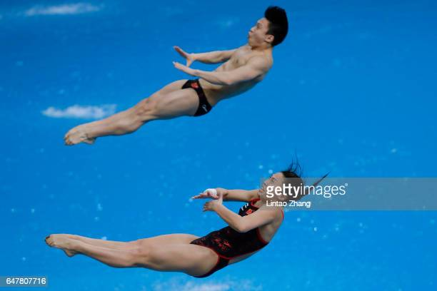 Wang Han and Li Zheng of China compete in the Mixed 3m Synchro Springboard final on day two of the FINA/NVC Diving World Series 2017 Beijing Station...