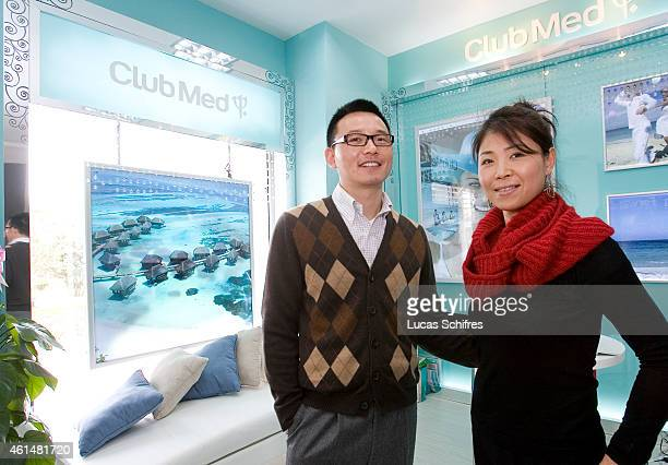 Wang Hanxiang and Li Xiangyu are middleclass Chinese and clients of Club Med travel agency They pose in the brand's store at Biyun road on March 27...