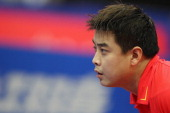Wang Hao oc China looks on during the second round Men's Single match between Wang Hao of China and Andrej Gacina of Croatia during the World Table...