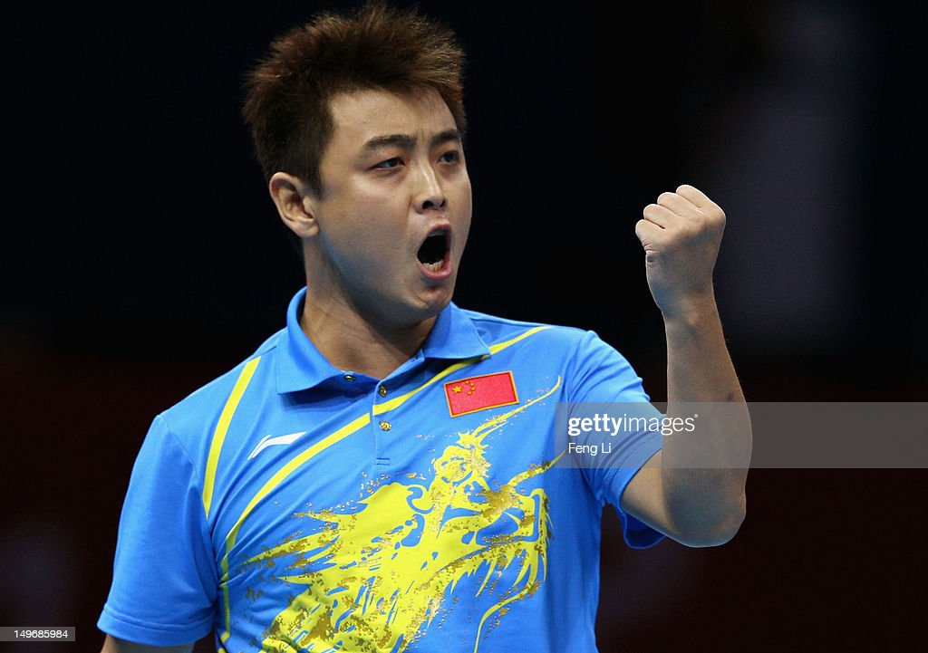 <a gi-track='captionPersonalityLinkClicked' href=/galleries/search?phrase=Wang+Hao+-+Table+Tennis+Player&family=editorial&specificpeople=4649569 ng-click='$event.stopPropagation()'>Wang Hao</a> of China celebrates a point during Men's Singles Table Tennis Gold medal match against Zhang Jike of China on Day 6 of the London 2012 Olympic Games at ExCeL on August 2, 2012 in London, England.