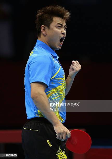 Wang Hao of China celebrates a point during Men's Singles Table Tennis Gold medal match against Zhang Jike of China on Day 6 of the London 2012...