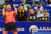 Wang Hao of China celebrates the 31 victory and winning the World Cup against Patrick Baum of Germany during the LIEBHERR table tennis team world cup...