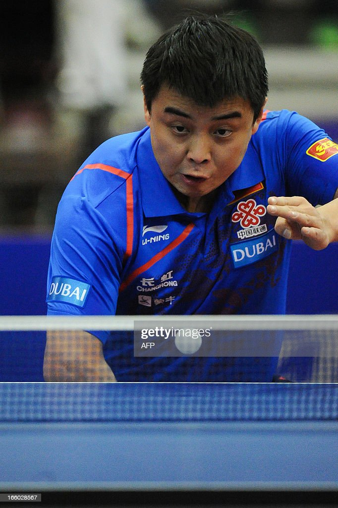 Wang Hao of China competes during the men's singles semi-final table tennis match of the ITTF Korea Open in Incheon on April 7, 2013.