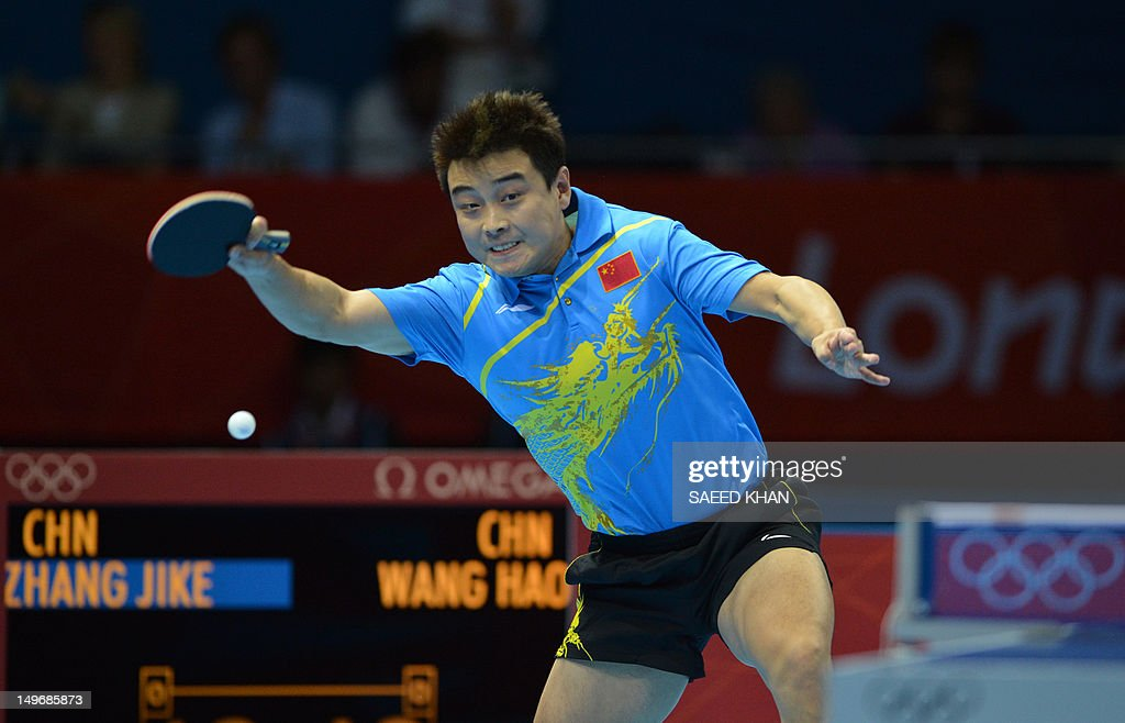 <a gi-track='captionPersonalityLinkClicked' href=/galleries/search?phrase=Wang+Hao+-+Table+Tennis+Player&family=editorial&specificpeople=4649569 ng-click='$event.stopPropagation()'>Wang Hao</a> of China plays a return during his table tennis men's gold medal singles match against compatriot Zhang Jike for the London 2012 Olympic Games at The Excel Centre in London on August 2, 2012.
