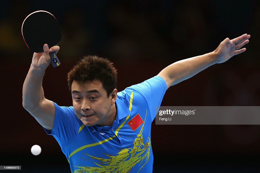 <a gi-track='captionPersonalityLinkClicked' href=/galleries/search?phrase=Wang+Hao+-+Table+Tennis+Player&family=editorial&specificpeople=4649569 ng-click='$event.stopPropagation()'>Wang Hao</a> of China plays a shot during Men's Singles Table Tennis Gold medal match against Zhang Jike of China on Day 6 of the London 2012 Olympic Games at ExCeL on August 2, 2012 in London, England.