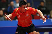 Wang Hao of China serves during his match against Kalinikos Kreanga of Greece during the LIEBHERR table tennis team world cup 2012 championship...