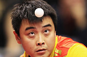 Wang Hao of China serves to Peng Tang of Hong kong during their Table Tennis World Cup 2010 match at the Boerdeland Hall on October 29 2010 in...