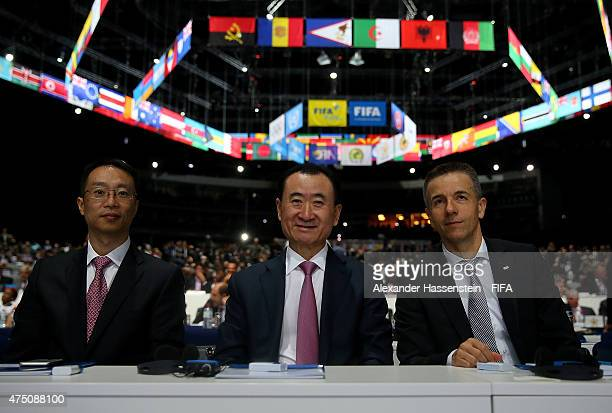 Wang Jianlin Chairman of Wanda Group and Philippe Blatter President and CEO of Infront Sports and Media AG pose during the 65th FIFA Congress at the...