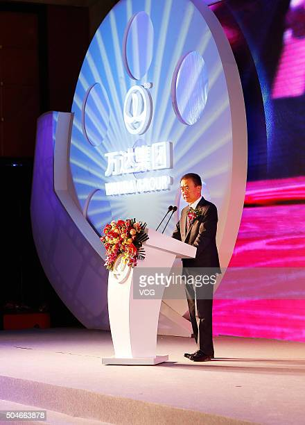 Wang Jianlin Chairman of Wanda Group speaks during the signing ceremony as Wanda Cultural Industry Group buy Legendary Entertainment on January 12...