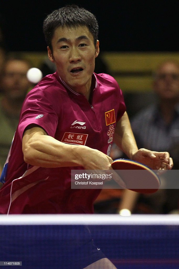 Wang Liqin of China plays a backhand during the second round Men's Single match between Wang Liqin of China and Ruwen Filius of Germany during the World Table Tennis Championships at Ahoy Arena on May 11, 2011 in Rotterdam, Netherlands. Ruwen Filius of Germany lost 0-4 against Wang Liqin of China.