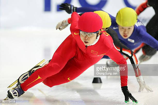 Wang Meng of China competes in the Ladies 1000M semi finals during day three of the 2008 ISU World Short Track Speed Skating Championships at...