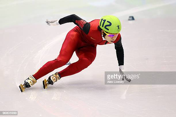 Wang Meng of China competes in the Short Track Speed Skating Ladies' 500 m on day 6 of the Vancouver 2010 Winter Olympics at Pacific Coliseum on...