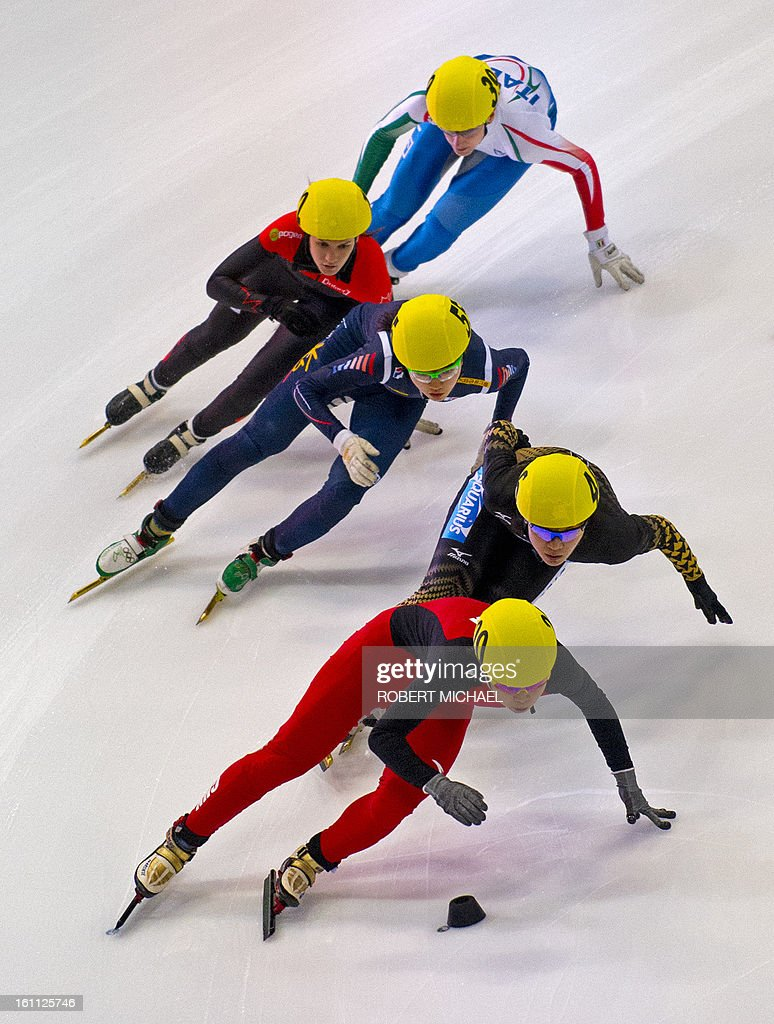 Wang Meng of China leads the pack at the women's 1500m semi final race of the ISU World Cup short track speed skating event in Dresden, eastern Germany, on February 9, 2013.