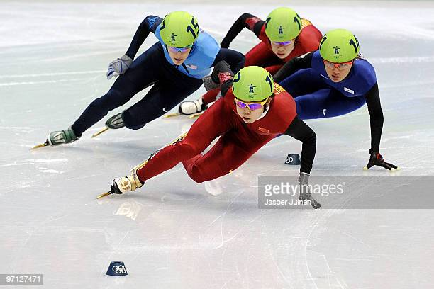 Wang Meng of China Park SeungHi of South Korea Katherine Reutter of the United States and Zhou Yang of China cmmpete in the Ladies 1000m Short Track...