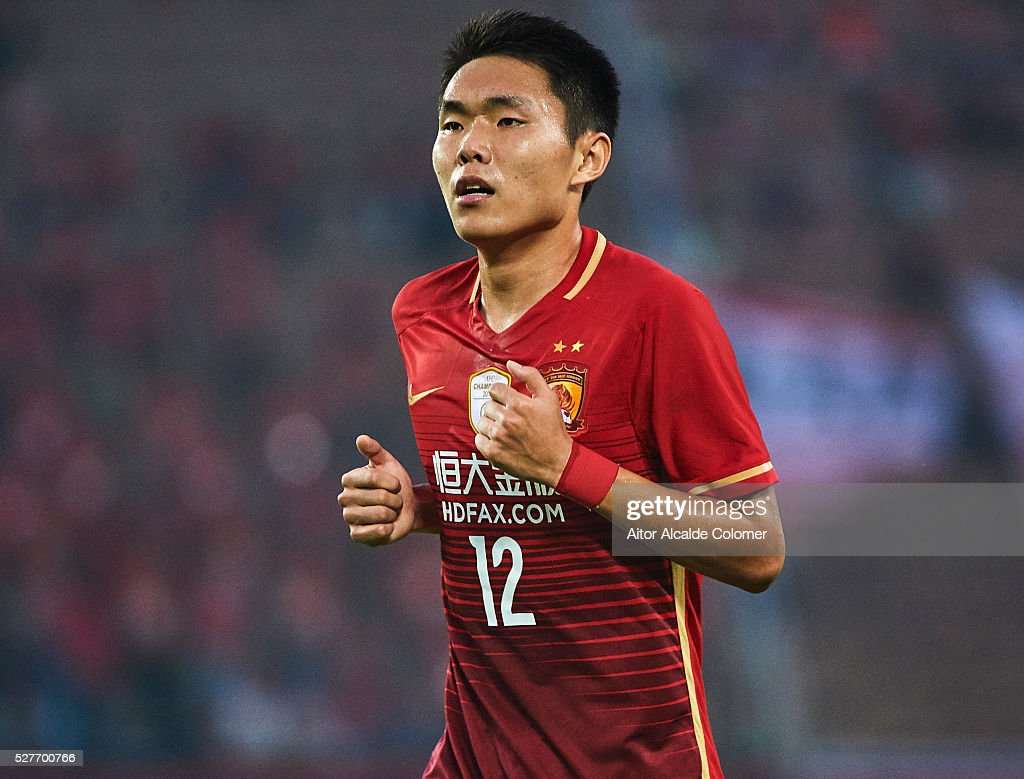 Wang Sangyuan of Guangzhou Evergrande looks on during the AFC Asian Champions League match between Guangzhou Evergrande FC and Sydney FC at Tianhe Stadium on May 3, 2016 in Guangzhou, China.