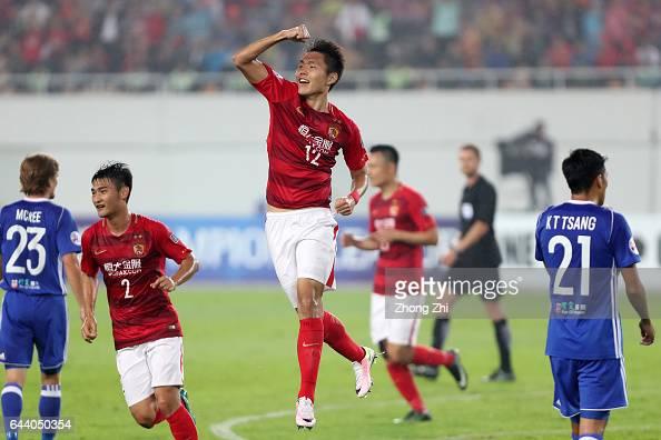 Wang Shangyuan of Guangzhou Evergrande celebrates a goal during 2017 AFC Asian Champions League group match between Guangzhou Evergrande Taobao FC...