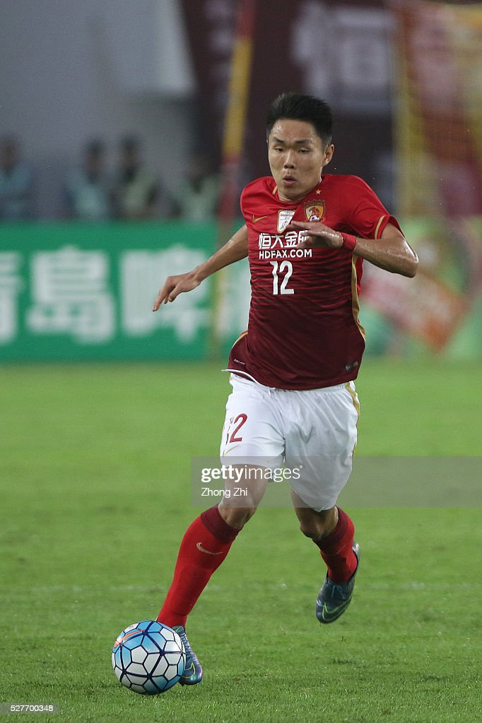 Wang Shangyuan of Guangzhou Evergrande in action during the AFC Asian Champions League match between Guangzhou Evergrande FC and Sydney FC at Tianhe Stadium on May 3, 2016 in Guangzhou, China.