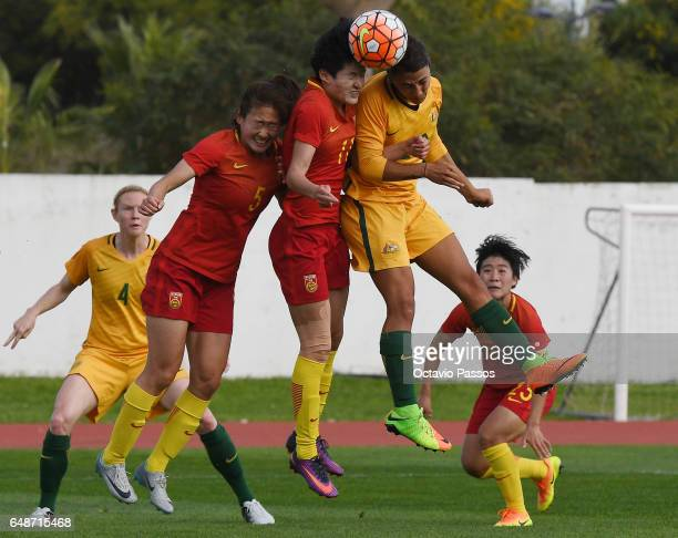 Wang Shanshan of China competes for the ball with Sam Kerr of Australia during the Women's Algarve Cup Tournament match between China and Australia...
