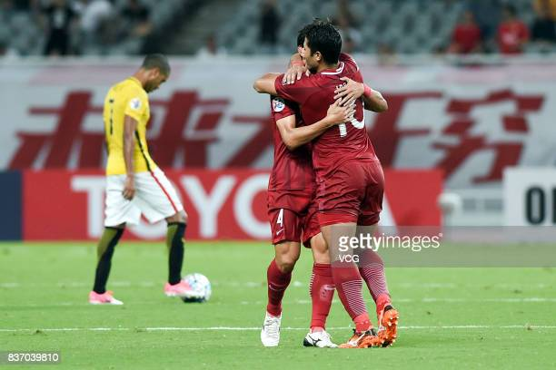 Wang Shenchao and Hulk of Shanghai SIPG celebrate a point during 2017 AFC Champions League 2017 Quarterfinals 1st leg between Shanghai SIPG and...