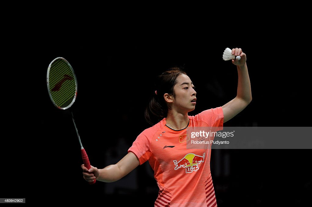 <a gi-track='captionPersonalityLinkClicked' href=/galleries/search?phrase=Wang+Shixian&family=editorial&specificpeople=5777044 ng-click='$event.stopPropagation()'>Wang Shixian</a> of China competes against Carolina Marin of Spain in the quarter finals match of the 2015 Total BWF World Championship at Istora Senayan on August 14, 2015 in Jakarta, Indonesia.