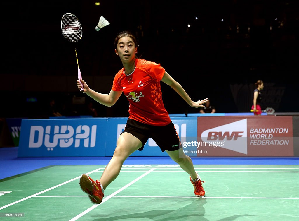 <a gi-track='captionPersonalityLinkClicked' href=/galleries/search?phrase=Wang+Shixian&family=editorial&specificpeople=5777044 ng-click='$event.stopPropagation()'>Wang Shixian</a> of China in action against Bae Yeon Ju of Korea during the Women's Singles RR1 match on day two of the BWF Destination Dubai World Superseries Finals at the Hamdan Sports Complex on December 18, 2014 in Dubai, United Arab Emirates.