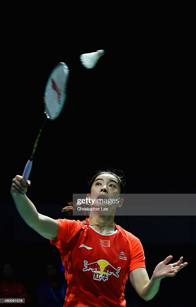 Wang Shixian of China in action against Saina Nehwal of India in the Womens Singles during day one of the BWF Destination Dubai World Superseries...
