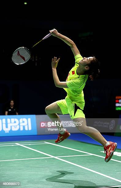 Wang Shixian of China in action against Sung Ji Hyun of Korea during Women's Singles Group B match on day three of the BWF Destination Dubai World...