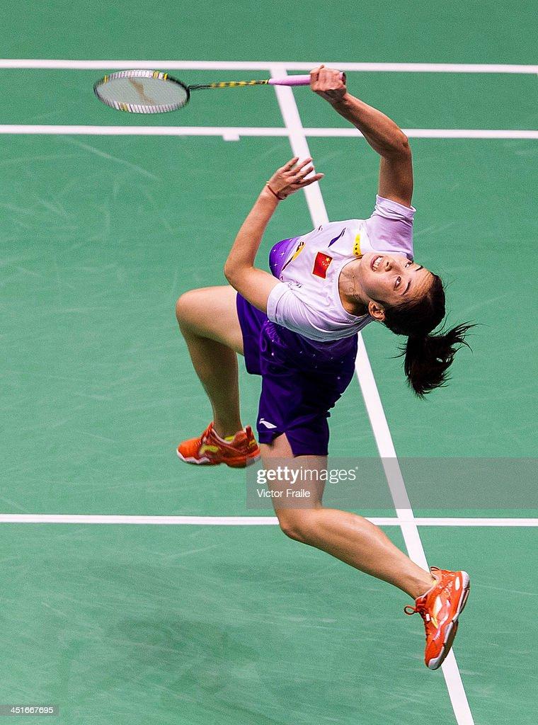 Wang Shixian of China in action against Wang Yihan of China during their women single final match during the Yonex-Sunrise Hong Kong Open Badminton Championship 2013 on November 24, 2013 in Hong Kong, Hong Kong.