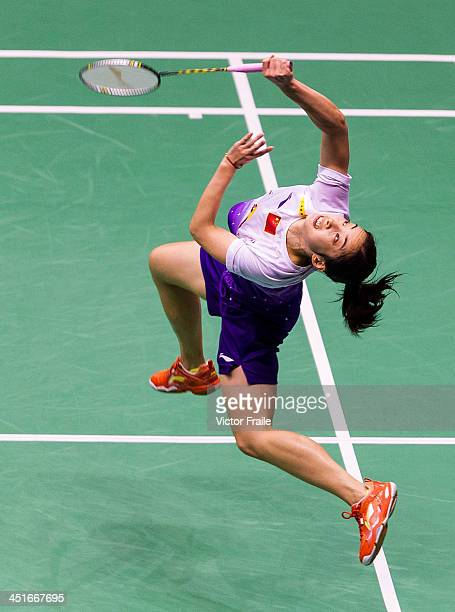 Wang Shixian of China in action against Wang Yihan of China during their women single final match during the YonexSunrise Hong Kong Open Badminton...
