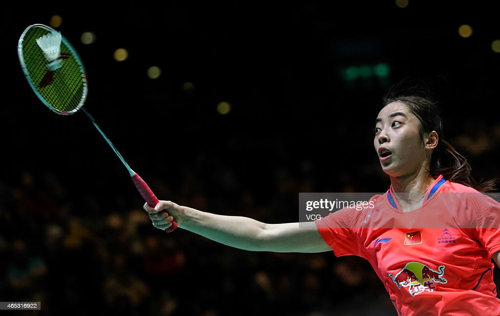 <a gi-track='captionPersonalityLinkClicked' href=/galleries/search?phrase=Wang+Shixian&family=editorial&specificpeople=5777044 ng-click='$event.stopPropagation()'>Wang Shixian</a> of China in action during Women's Singles match against Bae Yeon Ju of South Korea on day three of YONEX All England Open Badminton Championships at Birmingham Barclaycard Arena on March 5, 2015 in Birmingham, England.