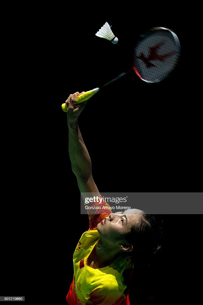 Wang Shixian of China in action in the Final Womens Single match against Nozomi Okuhara of Japan during day five of the BWF Dubai World Superseries...