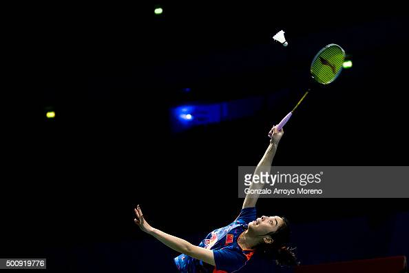 Wang Shixian of China in action in the Women's Singles match against Ratchanok Intanon of Thailand during day three of the BWF Dubai World...