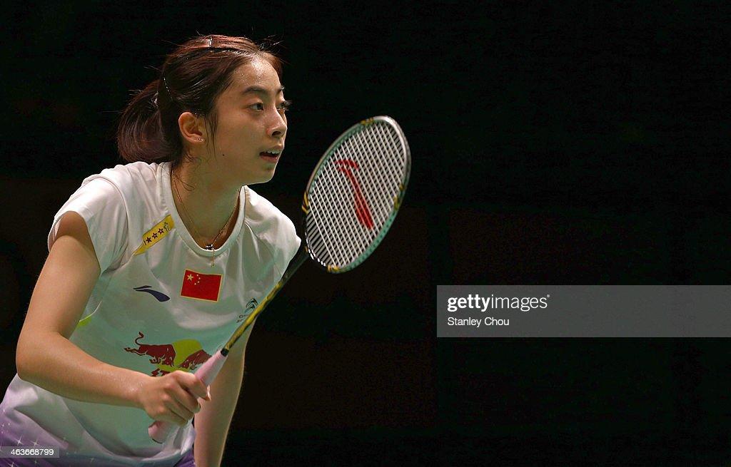 Wang Shixian of China looks on during her match with Li Xuerui of China during the Final of the Malaysia Badminton Open on January 19 2014 in Kuala...