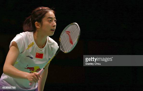 Wang Shixian of China looks on during her match with Li Xuerui of China during the Final of the Malaysia Badminton Open on January 19 2014 in Kuala...