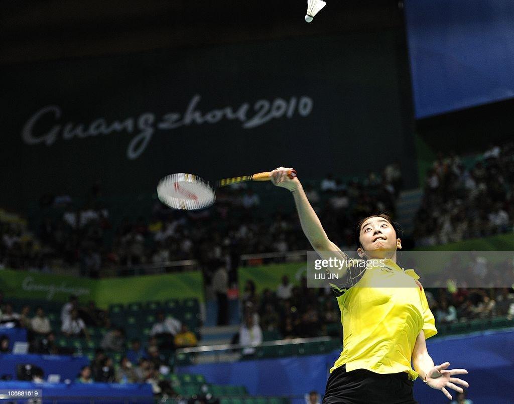 Wang Shixian of China prepares to hits a