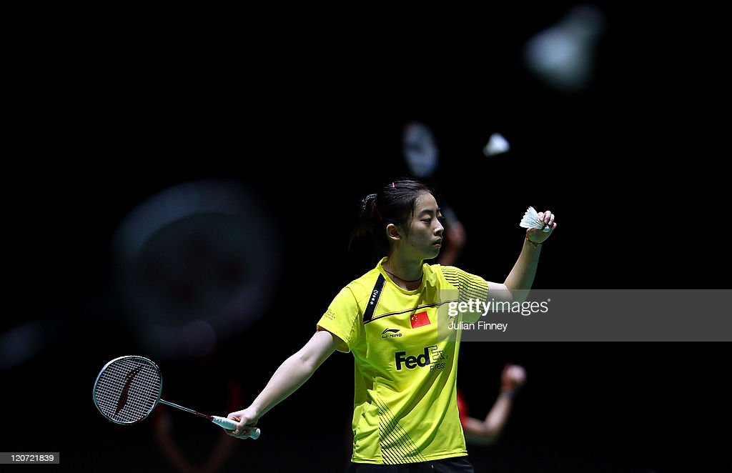 <a gi-track='captionPersonalityLinkClicked' href=/galleries/search?phrase=Wang+Shixian&family=editorial&specificpeople=5777044 ng-click='$event.stopPropagation()'>Wang Shixian</a> of China prepares to serve to Linda Zechiri of Bulgaria during day two of the BWF World Badminton Championships and LOCOG Test Event for London 2012 at Wembley Arena on August 9, 2011 in London, England.