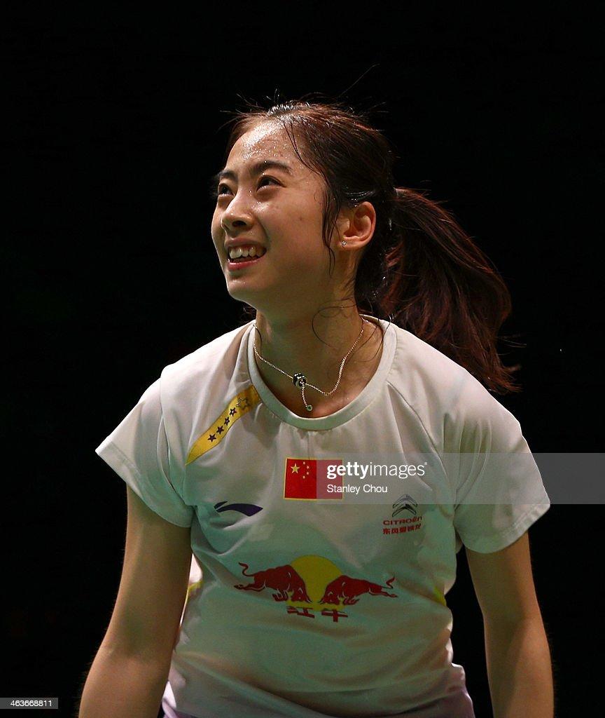 Wang Shixian of China reacts during her match with Li Xuerui of China during the Final of the Malaysia Badminton Open on January 19, 2014 in Kuala Lumpur, Malaysia.