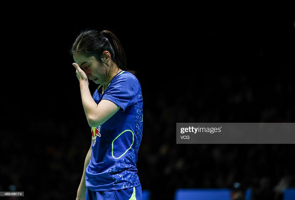 <a gi-track='captionPersonalityLinkClicked' href=/galleries/search?phrase=Wang+Shixian&family=editorial&specificpeople=5777044 ng-click='$event.stopPropagation()'>Wang Shixian</a> of China reacts during the Women's Singles match against Tai Tzu Ying of Chinese Taipei on day four of YONEX All England Open Badminton Championships at Birmingham Barclaycard Arena on March 6, 2015 in Birmingham, England.