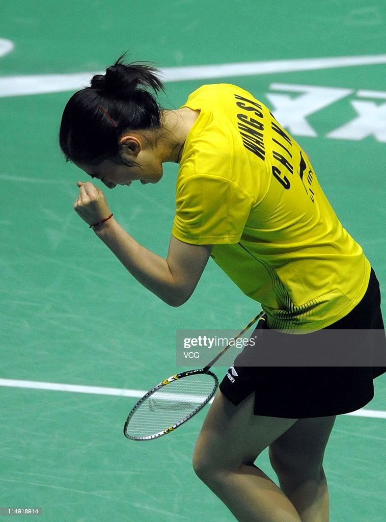 <a gi-track='captionPersonalityLinkClicked' href=/galleries/search?phrase=Wang+Shixian&family=editorial&specificpeople=5777044 ng-click='$event.stopPropagation()'>Wang Shixian</a> of China reacts in her match against Bae Yeonju of South Korea during day seven of the the 2011 Sudirman Cup - World Mixed Team Championships at Qingdao Sports Center on May 28, 2011 in Qingdao, Shandong Province of China.