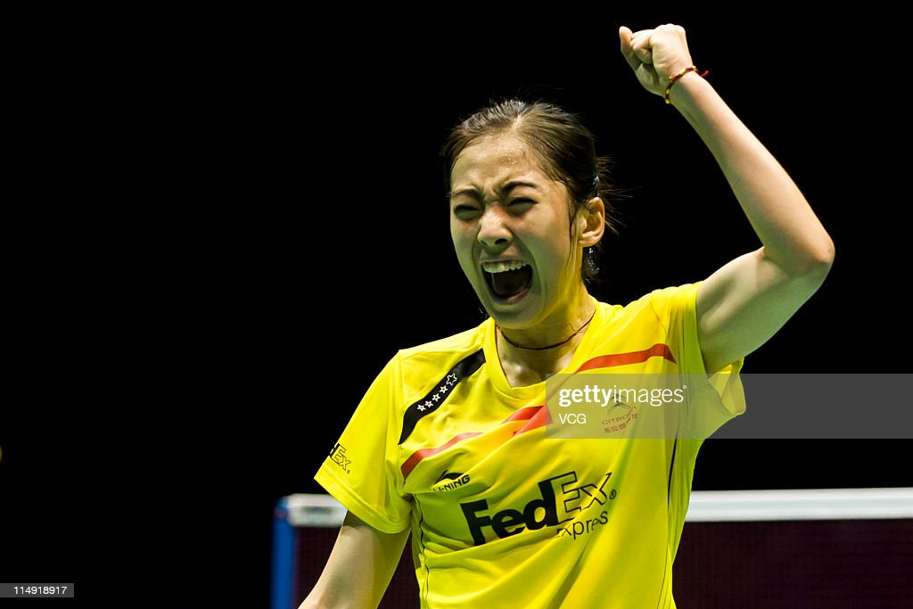 Wang Shixian of China reacts in her match against Bae Yeonju of South Korea during day seven of the the 2011 Sudirman Cup - World Mixed Team Championships at Qingdao Sports Center on May 28, 2011 in Qingdao, Shandong Province of China.